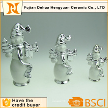 Plating cerámica artesanía de muñeco de nieve para la decoración del hogar