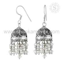 Exceptional oxidised pearl silver earring gemstone bridal jewelry 925 sterling silver jewellery manufacturing jaipur