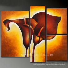 Pintura al óleo abstracta caliente de la flor de la lona de la venta para la decoración