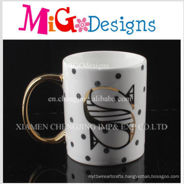 Aureate Handle Surface with a Letter Ceramic Coffee Mugs