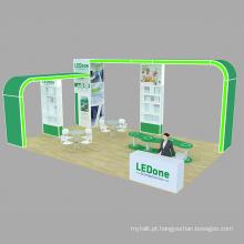 Exposição de cabines modulares para feiras