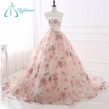 Lace Up Scoop Chapel Train Organza Cheap Real Sample Quinceanera Dresses