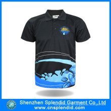 China Großhandelsmänner kleidet schwarzes Polyester-Polo-T-Shirt