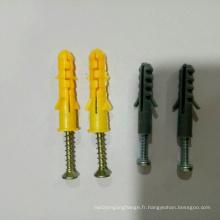 Ancrage de fixation de cadre en nylon avec manchon vis à zinc