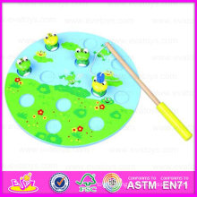 2015 Cute Design Wooden Puzzle Magnetic Frogs Toy for Christmas, Children Intelligence Toy of Magnetism Catch Frogs Toy Wj276037
