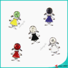 Stone Metal Girl Slider Charm Beads for Bracelet Making (JP08)