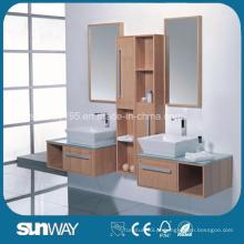Vaidade de gabinete de banheiro de madeira sólida de design moderno