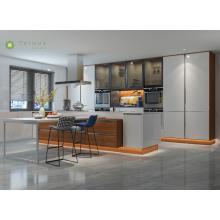 Dark Walnut Customizing Kitchen Island and Wall Cabinet