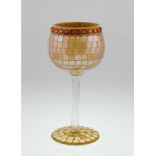 Wholesale LED Mosaic Wine Bottle Glass Candle Holder