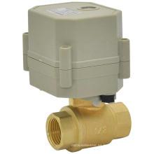 Válvula de agua de control eléctrico de 2 vías de válvula de bola de latón motorizado (T15-B2-C)