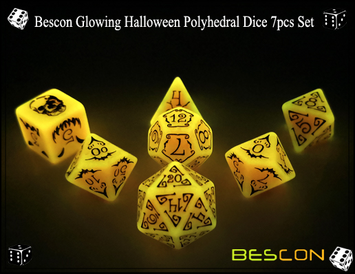 Bescon Glowing Halloween Polyhedral Dice 7pcs Set-2