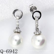 Latest Styles Pearl Earrings 925 Silver (Q-6942)