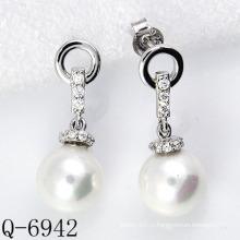 Новые стили Перл Серьги 925 Серебро (Q-6942)