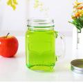 12oz 16oz Glass Mason Jar avec poignée et paille