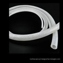 Tubo de borracha reforçado trançado do silicone da fibra durável do produto comestível