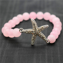 Rose Quartz 8MM Round Beads Stretch Gemstone Bracelet with Diamante alloy starfish Piece