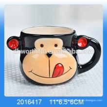 Taza de mousse de cerámica en forma de mono, taza de mousse de cerámica