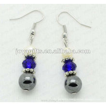 Magnetic Hematite Round Beads Earrings
