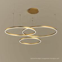 Hotel lobby living room cheap nordic modern gold hanging lamp aluminum round led pendant light acrylic chandelier