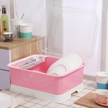 Plastic Kitchen Dish Rack With Cover
