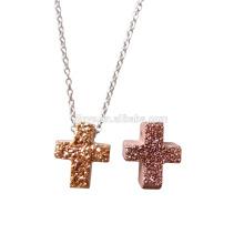 Mode Bling Mini Druzy Kristall Kreuz Halskette