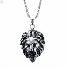 Tête de lion tête de mort collier en acier inoxydable bijoux pendentif