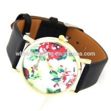 Reloj de cuero de lujo de la pulsera del cuero de lujo de las señoras de la manera con el patrón azul y blanco de la porcelana