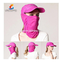 Casco exterior de secado rápido Casco solar redondo Máscara de malla transpirable Sombreros Bonnie Gorra plegable Sunbonnet Máscara facial de protección UV