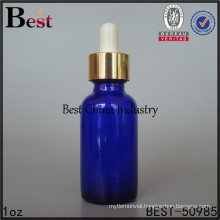 boston glass bottle with dropper, 20/400 neck size, cobalt blue color, 1oz /30ml, round shape, printing service, 1free samples