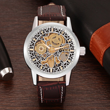 Brązowy Leather Man Mechanical Watch Factory