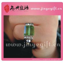 Anneaux de rectangle en cristal vert fait à la main de Guangzhou