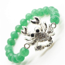 Green Aventurine Gemstone Bracelet with Diamante alloy Snake Piece