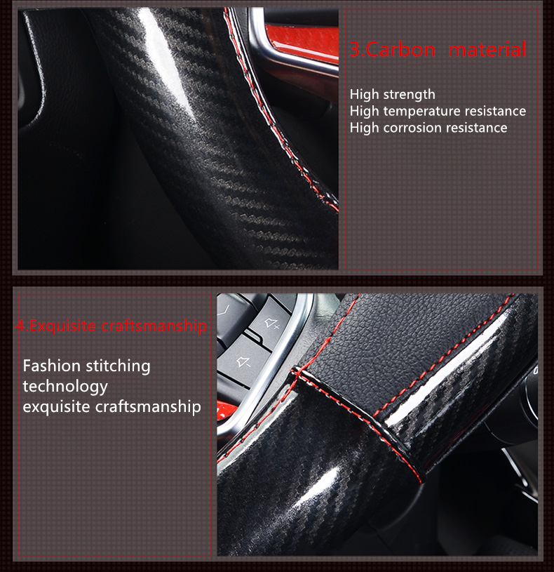 carbon leather steering wheel cover