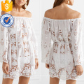 White Long Sleeve Off-The-Shoulder Crocheted Cotton Mini Summer Dress Manufacture Wholesale Fashion Women Apparel (TA0283D)