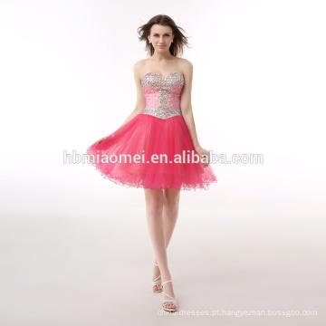 Noite elegante frisada vermelha do vestido Fora-Ombro do estoque da cor dos doces para o partido