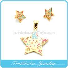 2014 Artificial Gran joyería de fantasía Acero inoxidable Colorido Esmalte Diseño Chapado en oro Estrella Stud Pendiente colgante conjunto de joyas