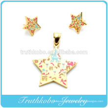2014 Artificial Big Costume Jewelry Stainless Steel Colorful Enamel Design Gold Plated Star Stud Earring Pendant Jewelry Set