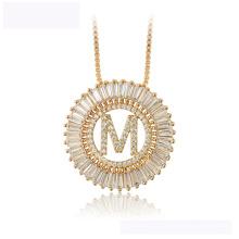 34442 Dernier design collier de mode xuping en or 18K couleur lettre M collier luxueux pour les femmes