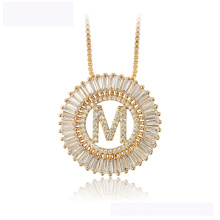 34442  Latest design xuping fashion necklace 18K gold color letter M luxurious necklace for women