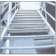 Escalera de acero de la escalera, peldaño de la escalera del metal, escalera de acero
