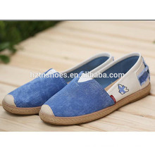 2016 new spring women canvas sneakers casual mixed color flat heel espadrille slip on canvas loafer driving shoes