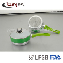 Green color ceramic milk pan with induction