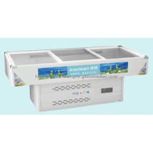 Low energy Commercial display meat island freezer showcase can OEM