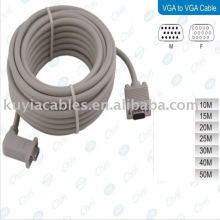 Cable de 90 grados VGA macho a hembra adaptador de ángulo recto para cable de TV de 15 pines