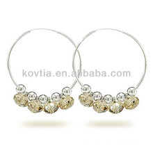 New arrival 925 sterling silver jewelry crystal hoop earrings