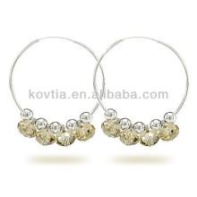 Nova chegada 925 prata esterlina jóias brincos de argola de cristal