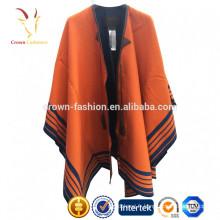 Châle en laine imprimé rayé pour femme