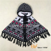 Children Snowflake Jacquard Cardigan Hooded Poncho