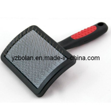 Square Pet Slicker Brush Made From Very Thin Metal Wire and Mounted on a Soft Foam or Rubber Mat