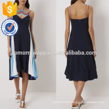 New Fashion Navy Midi Dress With Stripe Panels And Lace Front Manufacture Wholesale Fashion Women Apparel (TA5257D)